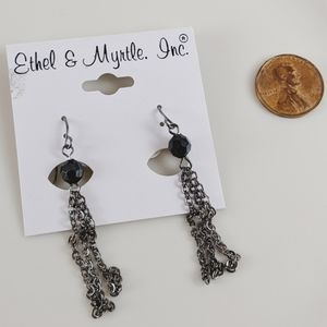 🖤3 for 25🖤 EthelMyrtle Black Silver Tassle Earri